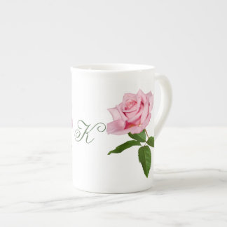 Pink Rose with Dew Drops Customizable Monogram Bone China Mug