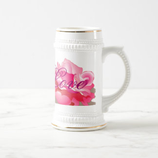 Pink Rose With Love Beer Steins