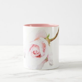 Pink Rose with rain drops Two-Tone Coffee Mug
