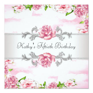 "Pink Rose Womans 50th Birthday Party 5.25"" Square Invitation Card"