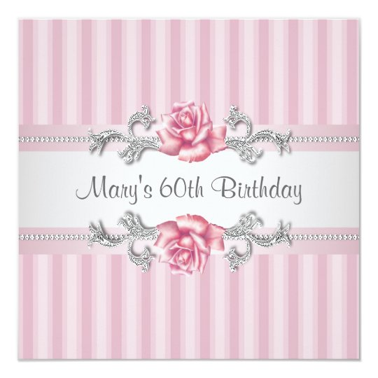 Pink Rose Womans 60th Birthday Party Card