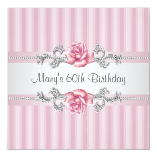 "Pink Rose Womans 60th Birthday Party 5.25"" Square Invitation Card"