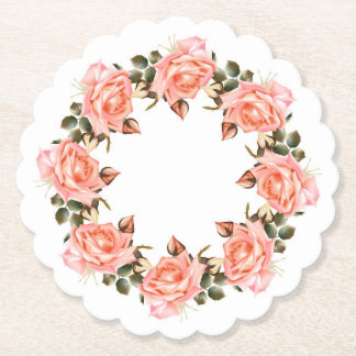 Pink Rose Wreath Scalloped Round Paper Coaster