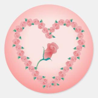 PINK ROSEBUD by SHARON SHARPE Round Sticker