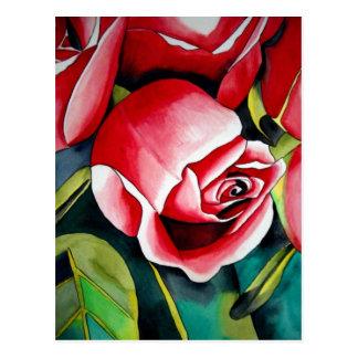 Pink Rosebud watercolor painting art flower Postcard