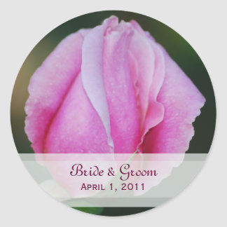 Pink Rosebud Wedding Stickers