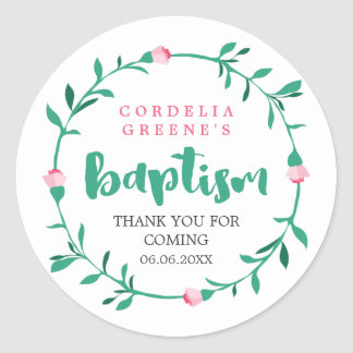 Pink Rosebud Wreath | Thank You Baptism Round Sticker