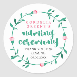 Pink Rosebud Wreath | Thank You Naming Ceremony Round Sticker