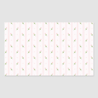 Pink Rosebuds and Stripes Rectangular Sticker