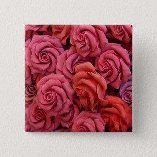 Pink roses 15 cm square badge
