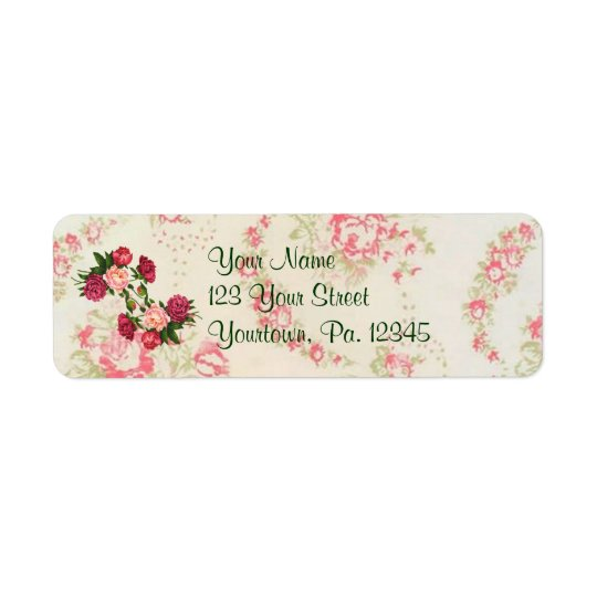 Pink Roses Address Label