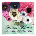 PINK ROSES AND ANEMONE FLOWERS BRIDAL SHOWER CUSTOM INVITATIONS