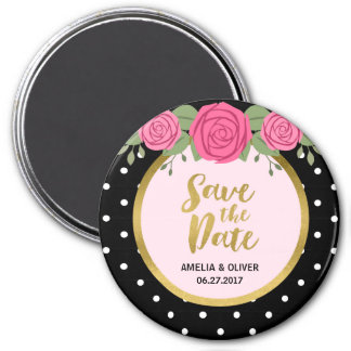 Pink Roses and Black White Polka Dot Save the Date 7.5 Cm Round Magnet