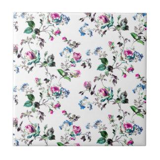 Pink Roses and Blue Flowers Floral Design Tile