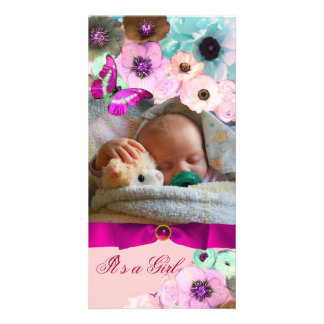 PINK ROSES AND BUTTERFLY NEW BABY PHOTO TEMPLATE PHOTO GREETING CARD