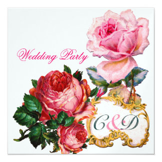 """PINK ROSES AND CUPID LACE HEART  WEDDING  MONOGRAM 5.25"""" SQUARE INVITATION CARD"""