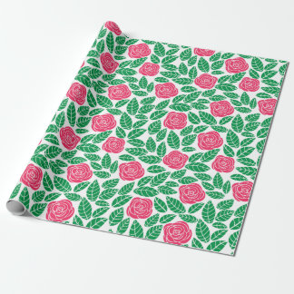 Pink roses and green leaves pattern wrapping paper