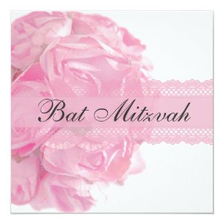 "Pink Roses and Lace Bat Mitzvah Invitation 5.25"" Square Invitation Card"