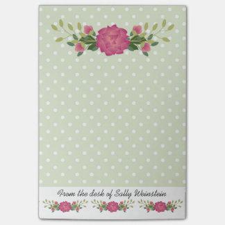 Pink roses and Polka Dots Post It Note Pad