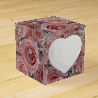 pink roses and ring gift box favour boxes