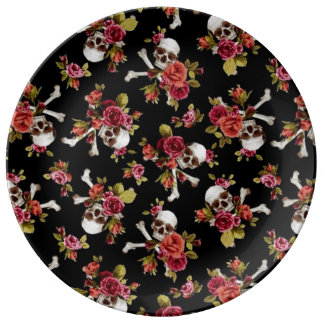 Pink Roses and Skulls Plate