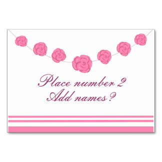 Pink Roses and stripes table place holder cards Table Cards