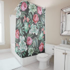 Pink Roses and Succulent Cactus Pattern on Black Shower Curtain