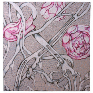 Pink Roses and Thorns. Napkin