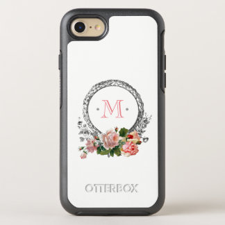 Pink Roses and Vintage Monogram OtterBox Symmetry iPhone 8/7 Case