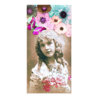 PINK ROSES ,ANEMONES AND BUTTERFLY PHOTO TEMPLATE CUSTOMISED PHOTO CARD
