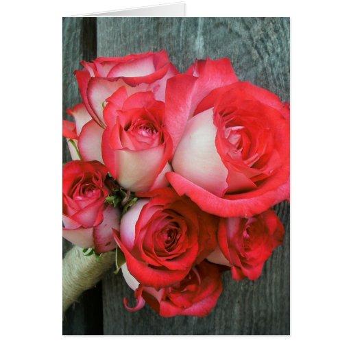 Pink Roses & Barn Wood Card