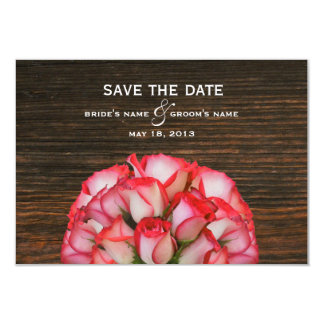 Pink Roses & Barn Wood Save The Date 3.5x5 Paper Invitation Card