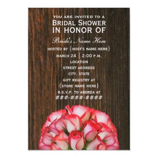 Pink Roses & Barnwood Rustic Bridal Shower Invite