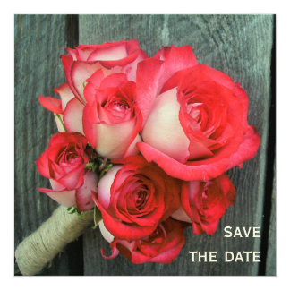 Pink Roses & Barnwood Wedding Save The Date 13 Cm X 13 Cm Square Invitation Card