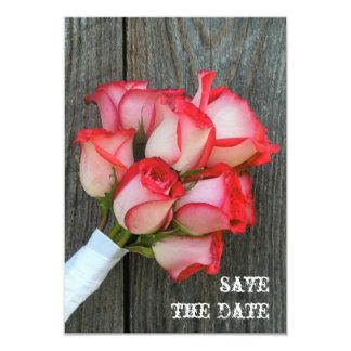 Pink Roses & Barnwood Wedding Save The Date 9 Cm X 13 Cm Invitation Card
