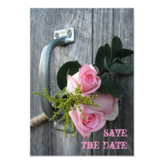 Pink Roses & Barnwood Wedding Save The Date 9 Cm X 13 Cm Invitation Card