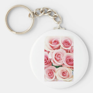 Pink Roses Basic Round Button Key Ring