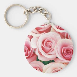 Pink Roses Basic Round Button Key Ring