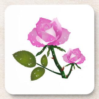 Pink Roses Beverage Coasters