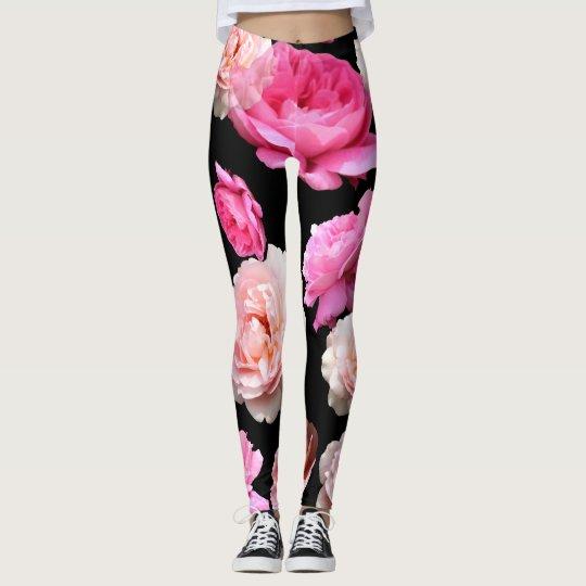 Pink Roses Black Athleisure Yoga Pants Leggings