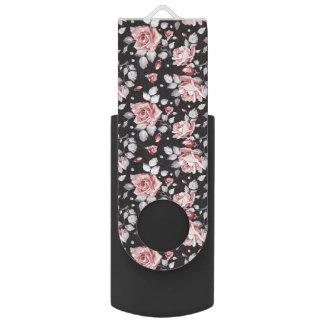 Pink roses black background USB flash drive
