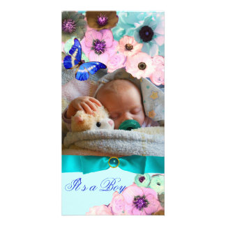PINK ROSES ,BLUE BUTTERFLY NEW BABY PHOTO TEMPLATE CUSTOMIZED PHOTO CARD
