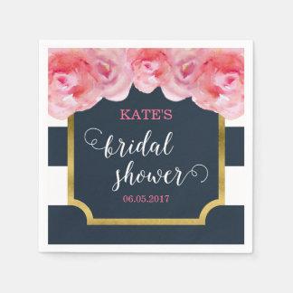 Pink Roses Blue Stripes Bridal Shower Disposable Napkin