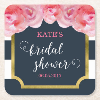 Pink Roses Blue Stripes Bridal Shower Square Paper Coaster