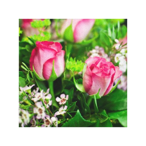 Pink Roses Bouquet Gallery Wrap Canvas