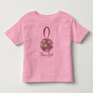 Pink Roses Bouquet Flower Girl Wedding Party Tee