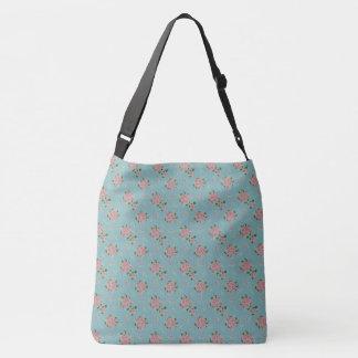 Pink Roses Bouquet Green Leaves Crossbody Bag
