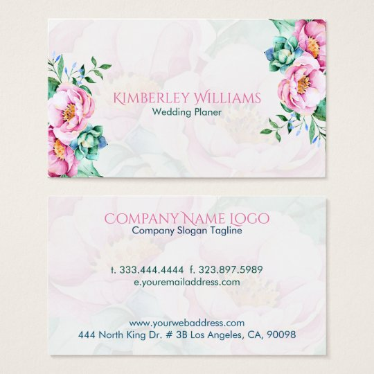 Pink Roses Bouquet On White Background Business Card