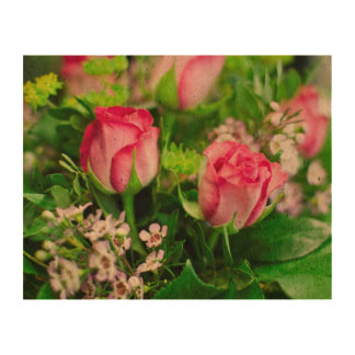 Pink Roses Bouquet Photo Cork Paper