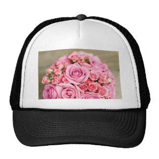 Pink Roses Bridal Bouquet Mesh Hat
